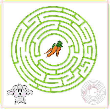 conejo: Conejo o liebre deben ir a la zanahoria. Juego educativo para los ni�os: ir a trav�s del laberinto y encontrar la respuesta correcta Foto de archivo