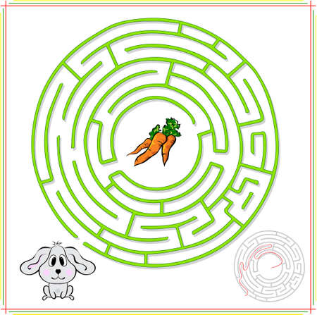 Rabbit or hare must go to carrot. Educational game for children: go through the maze and find the right answer