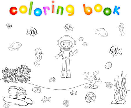 ocean floor: Cute cartoon scuba diver and fish under water. Seahorse, jellyfish, coral and starfish on the ocean floor. Coloring book