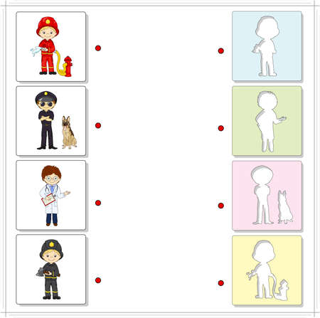 fireman: Fireman, policeman with dog and doctor. Educational game for kids. Choose the correct silhouettes on the opposite side and connect the points Stock Photo