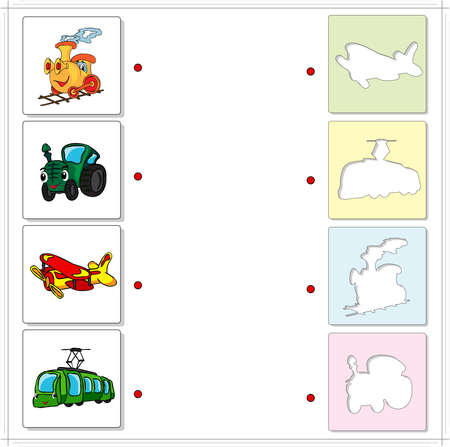 tramcar: Train, tractor, airplane and tram. Educational game for kids. Choose the correct silhouettes on the opposite side and connect the points