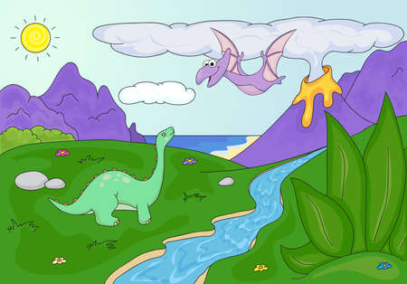spews: Dinosaurs diplodocus and pterodactyl on a background of  prehistoric nature: mountains, sea and ferns. Volcano spews lava.