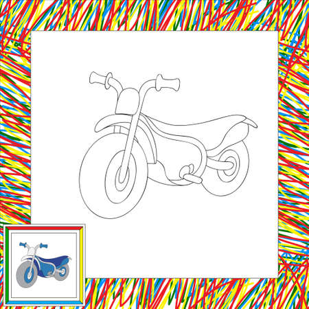 Funny cartoon motorcycle. Coloring book for kids. illustration