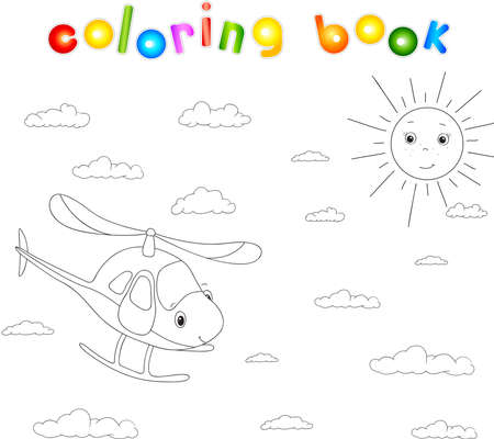 for children: Funny cartoon helicopter. Coloring book for children Illustration