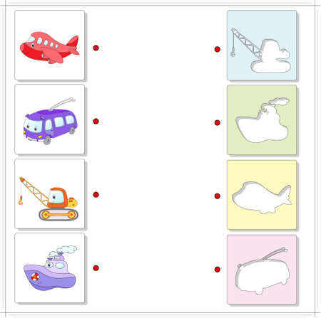 fascinated: Aircraft, trolleybus, crane and ship. Educational game for kids. Choose the correct silhouettes on the opposite side and connect the points Illustration