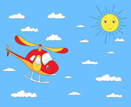 cloudy: Funny cartoon helicopter in the cloudy sky