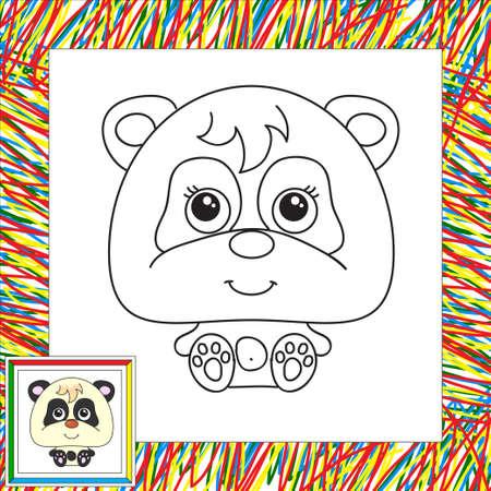 Funny cartoon panda. illustration for children. Coloring book for kids