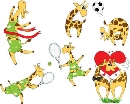 girafe: Set of cartoon giraffes playing football and tennis. Lovestory and wedding. illustration