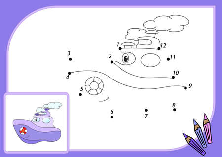 steamship: Funny cartoon steamship. Connect dots and get image. Educational game for kids. illustration