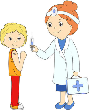 doctor and patient vector: Doctor makes vaccination to the patient. Vector illustration