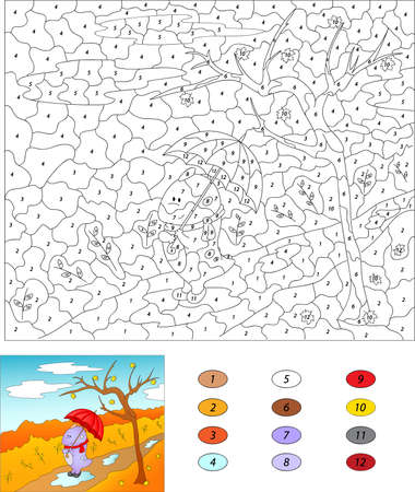 autumn park: Color by number educational game for kids. Purple dragon walks with red umbrella in an autumn park. illustration for schoolchild and preschool Illustration