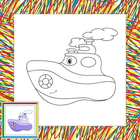 steamship: Funny cartoon steamship. Coloring book for children. illustration