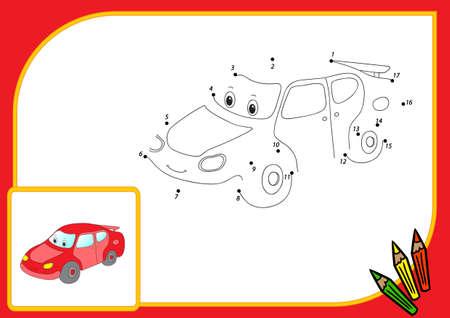 carritos de juguete: Coche divertido de la historieta. Conectar los puntos y obtener la imagen. Juego educativo para los niños. Ilustración vectorial