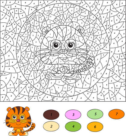 coloration: Color by number educational game for kids. Cartoon tiger. illustration for schoolchild and preschool