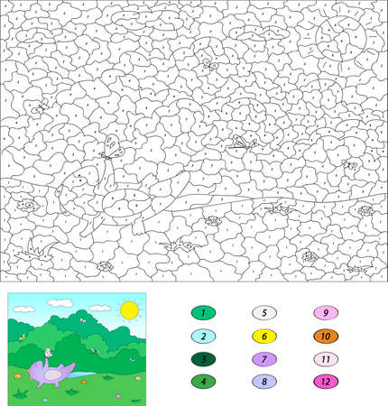 Color by number educational game for kids. Purple dragon playing on the summer or spring meadow. illustration for schoolchild and preschool