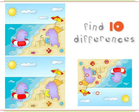 niño preescolar: Dragones púrpuras jugando en la playa de verano. Juego educativo para los niños: encontrar diez diferencias. ilustración Vectores