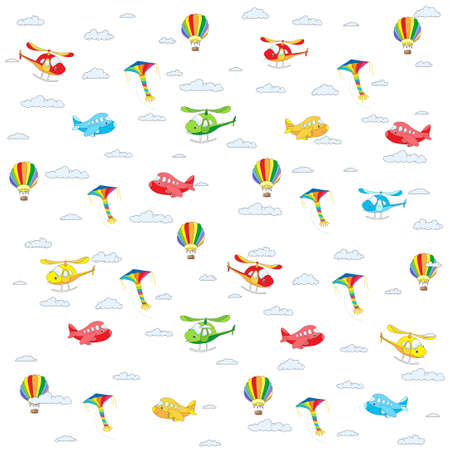 Seamless texture with cartoon transport. Helicopter, aircraft, balloon and kite in cloudy sky. colorful background isolated on white Illustration