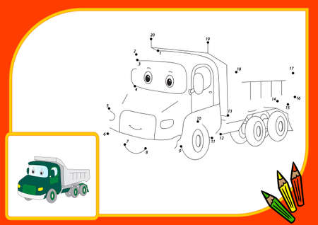 Funny Cartoon Lorry Connect Dots And Get Image Educational Game For Kids Illustration
