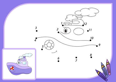 steamship: Funny cartoon steamship. Connect dots and get image. Educational game for kids.