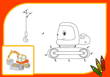 dredger: Funny cartoon excavator. Connect dots and get image. Educational game for kids. illustration Stock Photo
