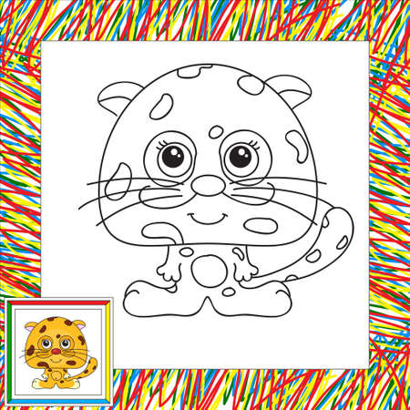 cheetah cub: Funny and cute jaguar. illustration for children. Coloring book for kids Stock Photo