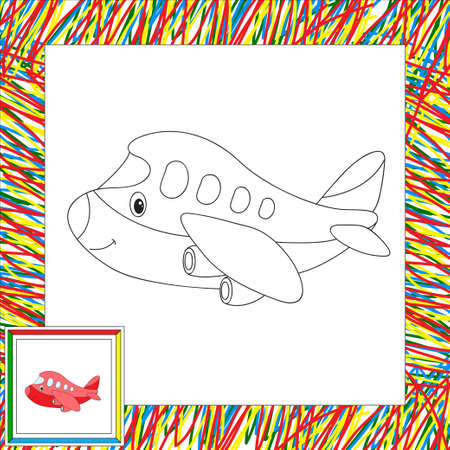 defender: Funny cartoon aircraft. Coloring book for children. illustration Stock Photo