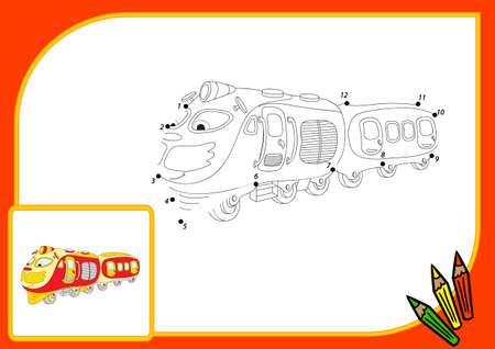 tren caricatura: Tren divertido de dibujos animados. Conectar los puntos y obtener la imagen. Juego educativo para los ni�os. ilustraci�n Foto de archivo