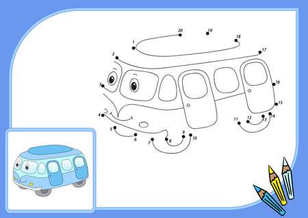 tren caricatura: Bus de dibujos animados divertido. Conectar los puntos y obtener la imagen. Juego educativo para los niños.