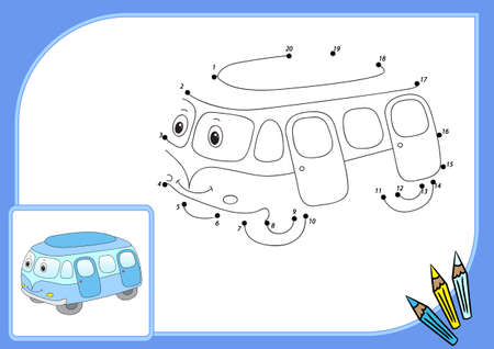 cartoon train: Funny cartoon bus. Connect dots and get image. Educational game for kids.