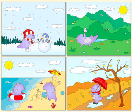 Four seasons: winter, spring, summer and autumn with purple dragon for kids. Seasonal postcards. illustration