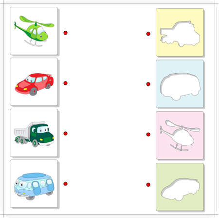 fascinated: Helicopter, car, lorry and bus. Educational game for kids. Choose the correct silhouettes on the opposite side and connect the points
