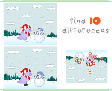 spot the difference: Purple dragon playing with snowman on the winter meadow. Educational game for kids: find ten differences. illustration