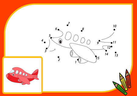 airplane engine: Funny cartoon aircraft. Connect dots and get image. Educational game for kids. illustration