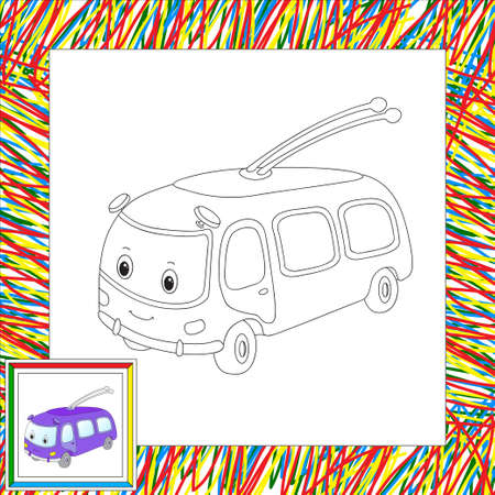 trolleybus: Funny cartoon trolleybus. Coloring book for kids. illustration