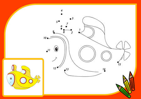 cartoon submarine: Funny cartoon submarine. Connect dots and get image. Educational game for kids. illustration