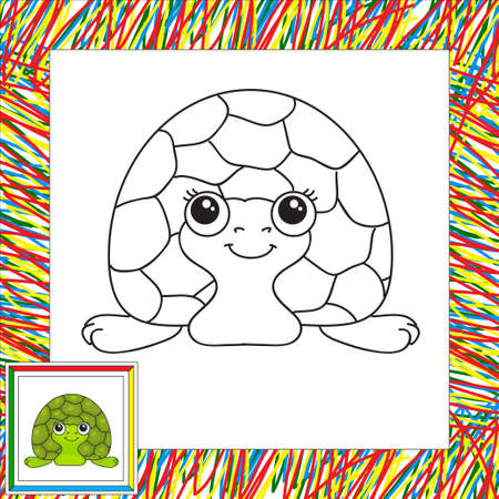 tardy: Funny green turtle. illustration for children. Coloring book for kids Stock Photo
