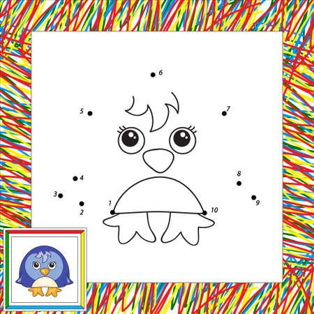 pinguin: Funny cartoon penguin. Vector illustration for children. Dot to dot game