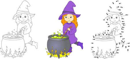 bruja: Bruja linda y agradable con caldero elabora poción mágica. Pintura y punto a punto juego educativo para los niños. Ilustración vectorial
