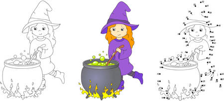 coloring sheet: Cute and nice witch with cauldron brews magic potion. Coloring and dot to dot educational game for kids. Vector illustration