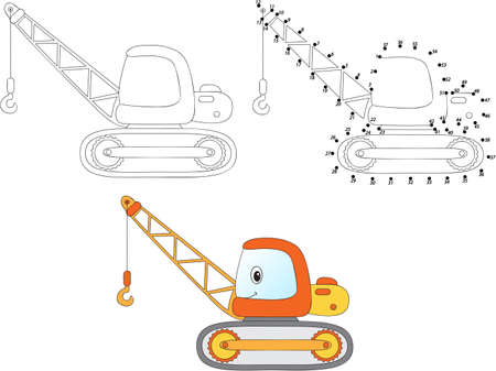 Cartoon construction crane. Vector illustration. Coloring and dot to dot educational game for kids Çizim