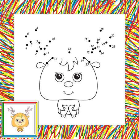 white tail deer: Funny cartoon deer. Vector illustration for children. Dot to dot game