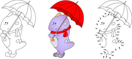 Cute purple dragon playing with umbrella. Vector illustration. Coloring and dot to dot educational game for kids Illustration