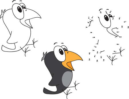 joining the dots: Cartoon crow. Coloring and dot to dot educational game for kids. Vector illustration