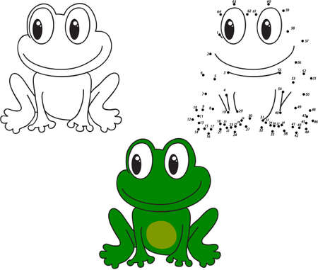 printable coloring pages: Cartoon frog. Coloring and dot to dot educational game for kids. Vector illustration Illustration