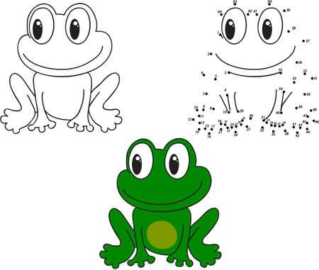 actividad: Rana de la historieta. Pintura y punto a punto juego educativo para los niños. Ilustración vectorial Vectores