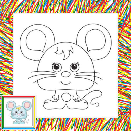 hungry kid: Funny cartoon mouse. Vector illustration for kids. Coloring book for kids Illustration
