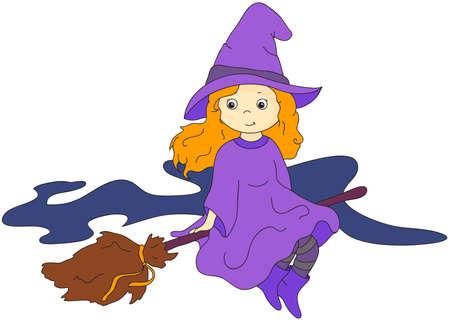 bruja: Encantadora bruja amigable volando en una escoba. Ilustración vectorial de dibujos animados para Halloween Vectores