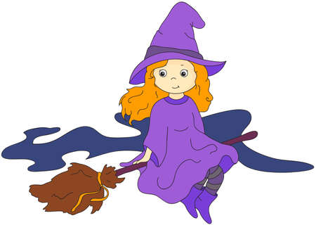 flying witch: Lovely friendly witch flying on a broomstick. Vector cartoon illustration for Halloween Illustration