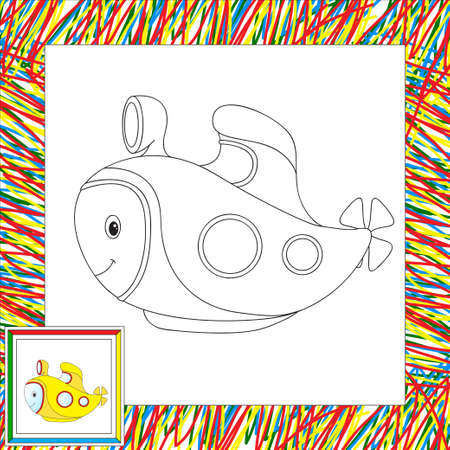 cartoon submarine: Funny cartoon submarine. Coloring book for children. Vector illustration