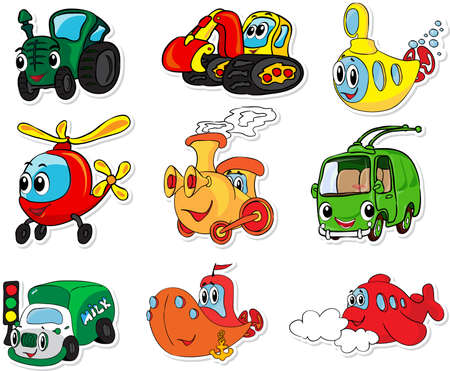 Set of transport: tractor, excavator, submarine, helicopter, train, trolleybus, lorry, ship and aircraft. Vector illustration for kids Çizim